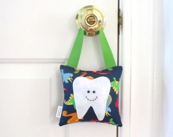Boys Tooth Fairy Pillow - Personalized Tooth Fairy Pillow - Dinosaurs
