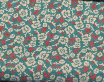 Red and Turquoise Floral Fabric