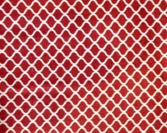 Red Quatrefoil Fabric Quilt Sew Blanket Craft