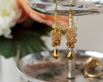 Gold Ombre Beaded Earrings