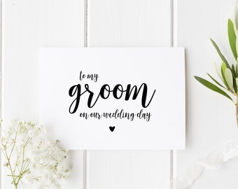 To My Groom On Our Wedding Day, Groom Wedding Day Card, Pretty Wedding Card, Card For Groom Wedding Day, To My Groom On My Wedding Day