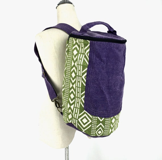 Aztec Tubular Backpack, Cute Cylinder Backpack, Weekender Bucket Backpack, Hippie Hiking Travel Backpack, Laundry Bag Backpack, Green Purple