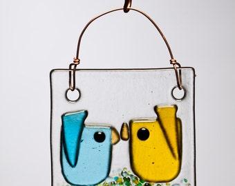 Yellow and Aqua Kissing Birds Handmade Fused Glass Suncatcher Oranament
