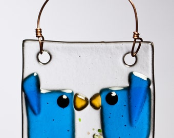 Two Blue Kissing Birds Handmade Fused Glass Suncatcher Ornament