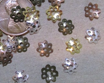 Assorted Colors of 8mm Filigree Style Lacy Little Bead Caps- Lightweight Stamped Metal (Iron based)- Choice of Lot Sizes-100/ 500