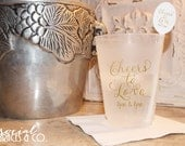 Calligraphy Frosted Wedding Cups • Weddings • Bridal Showers • Personalized Cups • Wedding Party Cups • Custom Special Event Cups