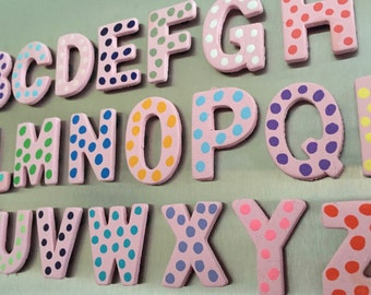 Magnetic Wood Alphabet letters (A-Z); Pink with multi-colored polka dots; ABC magnets; Fridge magnets; ABC Learning letters