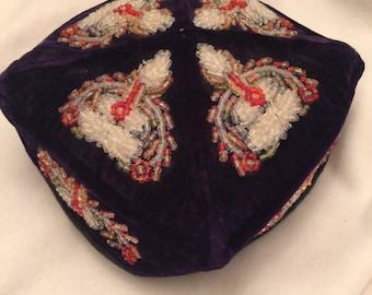 Vintage Beaded Navy Blue Velvet Uzbek Tubeteika Duppi Russian Cap/Hat