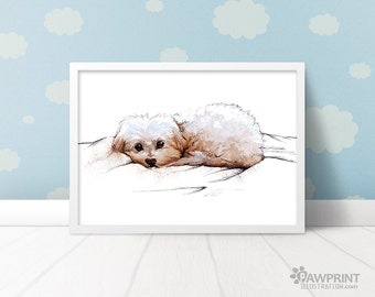 Puppy Nursery Art Print of Maltese dog - 4 Sizes Available