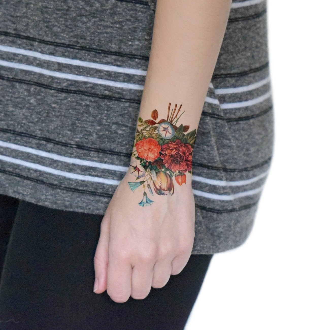Vintage floral temporary tattoo floral temporary tattoo for Vintage floral tattoo