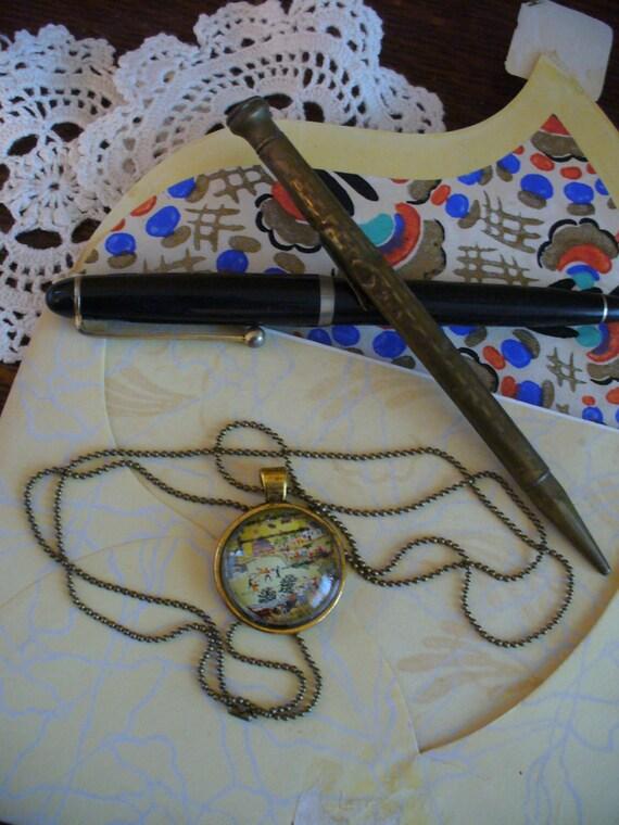 Stamp Jewelry, Stamp Necklace, Vintage Stamp, Stamp Pendant, Pendant Necklace, One of a Kind, Grandma Moses Village Scene Stamp, MarjorieMae