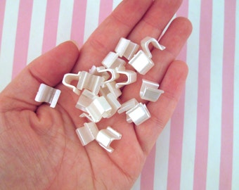 50 Glue On Button Back Plastic Bails, Flat Pad Jewelry Findings, E205