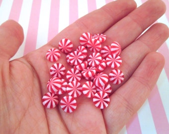 Miniature Red Peppermint Candy Cabochons, #239a