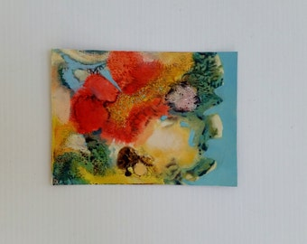 "Small original oil painting/ ""Coral Garden""/abstract/ recycled support of cereal box/ 5x7 inches"