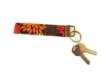 Brown Floral Key Fob Holder Keychain