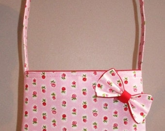Sweet Handmade Pink Flower Girls Handbag