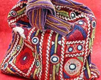 Fabulous, Vintage Bohemian, Hippie, Embroidered, Patchwork Velvet Bag with Mirrored Accents
