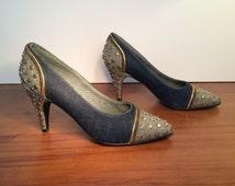 1980's Studded Denim Shoes, Made in Venezuela, Designer Jean's Jazz, Size US. 9, Style No. 1616
