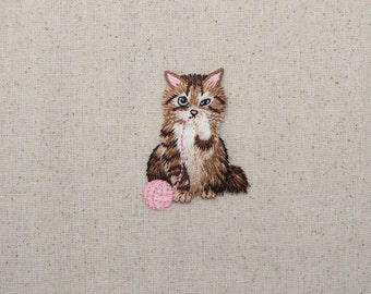 Brown Cat - Playing with Pink Yarn Ball - Pets - Iron on Applique - Embroidered Patch - 158633-A