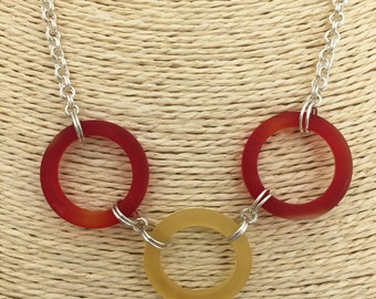 Red and Yellow Recycled Glass Rings Necklace