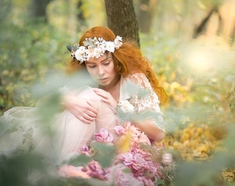 flower crown bridal headpiece fairy head wreath romantic wedding crown woodland headwreath hair flowers boho hair accessories