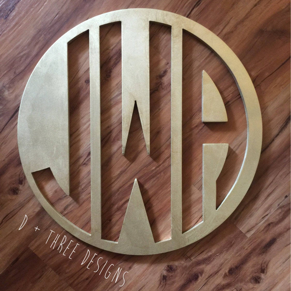 22 Inch Wooden Circle Monogram Reverse Cut Out Painted