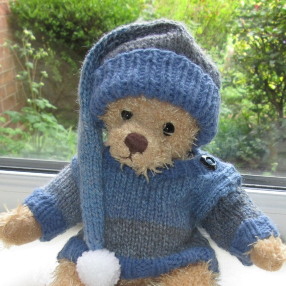 Teddy Bear Clothes Hand Knitted Blue Jumper/Sweater And
