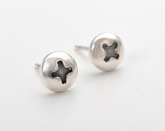 Screw Thai Silver stud Earrings-Silver Post Jewelry