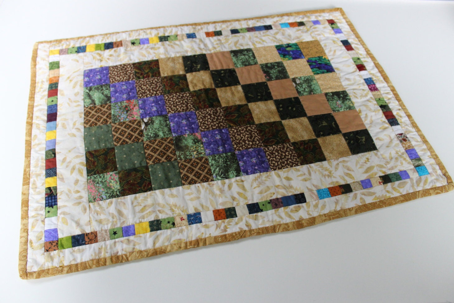 Patchwork table centerpiece handmade quilted bargello