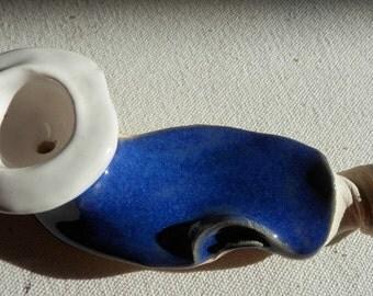 Handmade Blue ceramic pipe,High fired,unique pipe,blue pipe,white,Handmade pipe,tobacco pipe,pottery art,clay pipe,