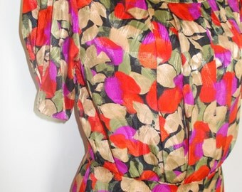 Vintage dress 90s floral print silky fabric dress size medium