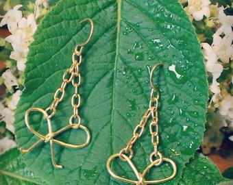 Gold Bow Earrings, Dainty Earrings, Delicate Earrings, Bridesmaid Earrings, Everyday Earrings, Drop Earrings, Bridal Earrings
