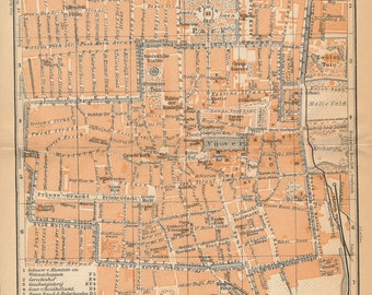 1910 Antique Map of The Hague, Netherlands (Holland)