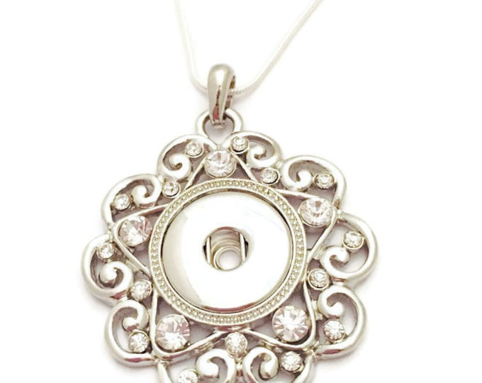 Snap Jewelry, Snap Necklace, Snap Pendant Necklace on Silver Chain- Fits all Ginger Snap Jewelry & Standard 18mm Snap Charms