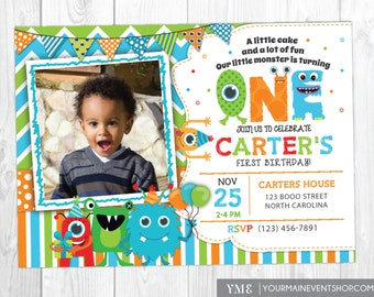 Monster Invitation, Monster Birthday Invitation, Monster Party, Little Monster First Birthday, 1st, Second Birthday, 2nd Birthday