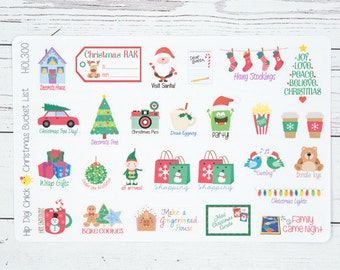 Christmas Bucket List Planner Stickers - Holiday Events {HOL300}