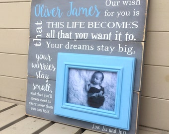 Baby Personalised Christening Present Wooden Sign