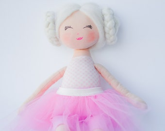 Rag doll, ballerina doll, cloth doll, handmade doll, pink, white, blonde hair, gift for a girl