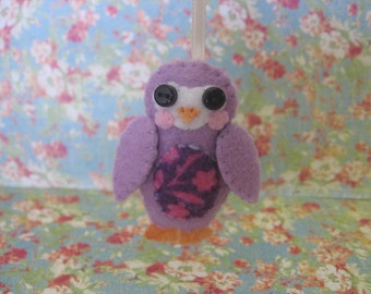 Decorative Owl Ornament, Violet/Floral, Small