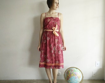 Vintage 1970s Pink Floral Leslie Fay Dress/Small/70s Dress