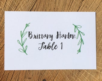 Custom escort cards, custom place cards, custom place settings - 6 Styles - Tented or flat