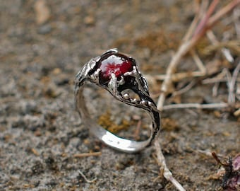 """Sterling Silver Garnet Ring """"Theia"""" MADE TO ORDER, garnet engagement ring,delicate ring,flower ring, leaves ring, statement ring"""