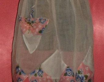Vintage Floral & Sheer Pixie Hem Apron