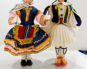 Greek Plastic Doll Man & Woman Vintage 1970s