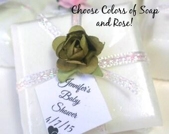 32 Green wedding soap favors - girl baby shower favors - unique bridal shower favors - handmade soap - choose your soap color