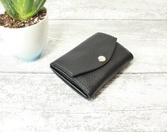 Snappy Purse - Leather wallet woman in BLACK chrome tanned leather - Leather purse closed by a snap - Handmade by Valentina.