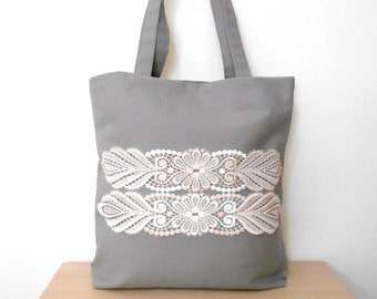 Grey Tote Bag, Canvas Tote Bag,  Lace Tote Bag, Everyday Bag, Grey Shoulder Bag, Large Tote, Shopping Bag, Grey Bag