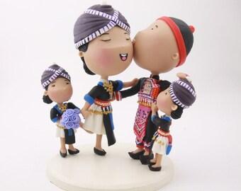Cake topper. Hmong family. Handmade. Fully customizable. Unique keepsake