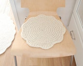 Chair pads crochet wool - Seat cushions flower shape - Floor seating wool felt pad