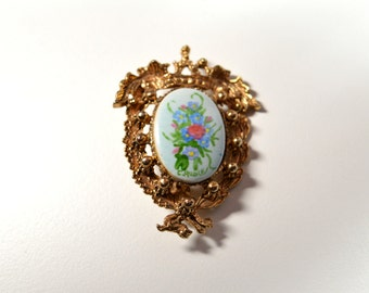 Vintage Painted Cameo Pin Brooch Flower Cameo Signed T. Ruble Ornate Goldtone Filigree Frame Framed Cameo Pin Brooch